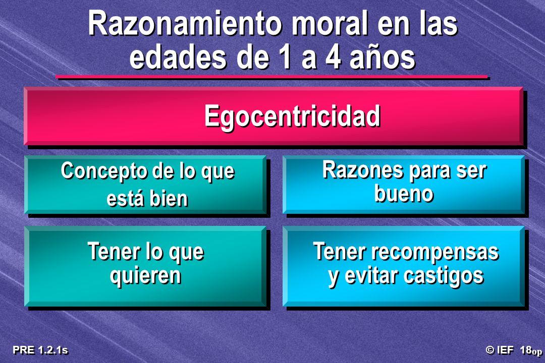 © IEF 18 PRE 1.2.1s Egocentricidad Concepto de lo que está bien Razones para ser bueno Tener lo que quieren Tener recompensas y evitar castigos Razona