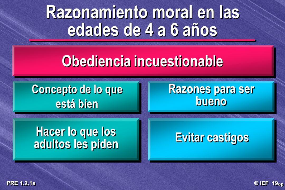 © IEF 19 PRE 1.2.1s Obediencia incuestionable op Razonamiento moral en las edades de 4 a 6 años Concepto de lo que está bien Razones para ser bueno Ha