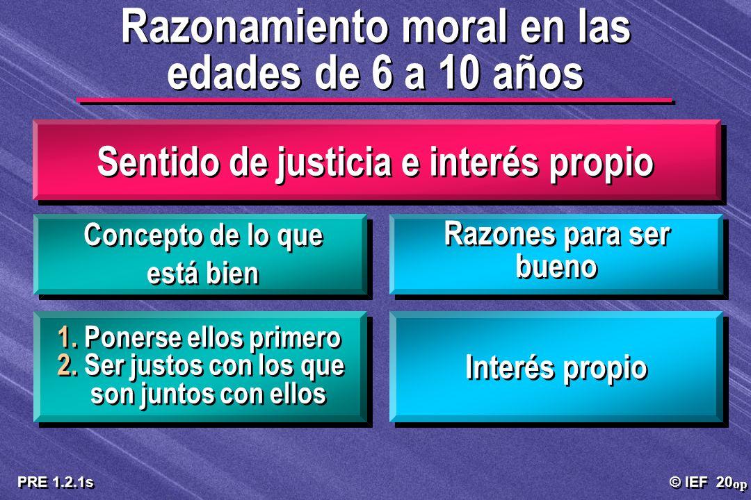 © IEF 20 PRE 1.2.1s Sentido de justicia e interés propio 1. Ponerse ellos primero 2. Ser justos con los que son juntos con ellos 1. Ponerse ellos prim