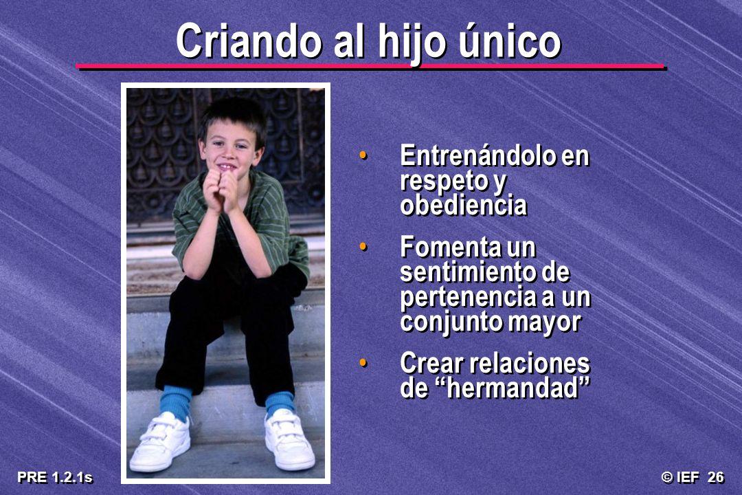 © IEF 26 PRE 1.2.1s Criando al hijo único Entrenándolo en respeto y obediencia Fomenta un sentimiento de pertenencia a un conjunto mayor Crear relacio