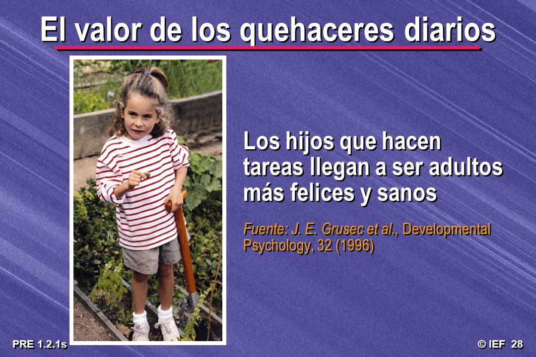 © IEF 28 PRE 1.2.1s El valor de los quehaceres diarios Los hijos que hacen tareas llegan a ser adultos más felices y sanos Fuente: J. E. Grusec et al.