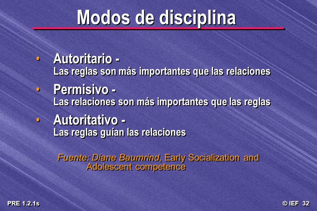 © IEF 32 PRE 1.2.1s Modos de disciplina Autoritario - Las reglas son más importantes que las relaciones Permisivo - Las relaciones son más importantes