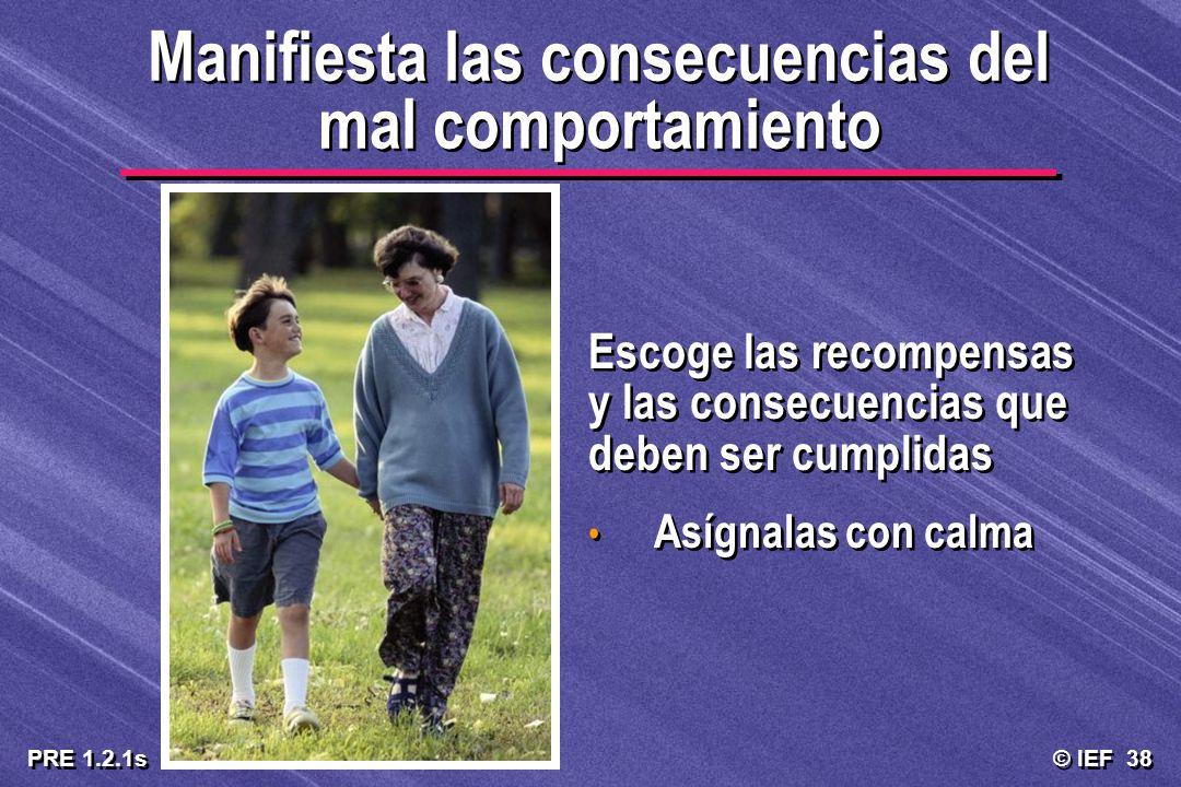 © IEF 38 PRE 1.2.1s Manifiesta las consecuencias del mal comportamiento Escoge las recompensas y las consecuencias que deben ser cumplidas Asígnalas c