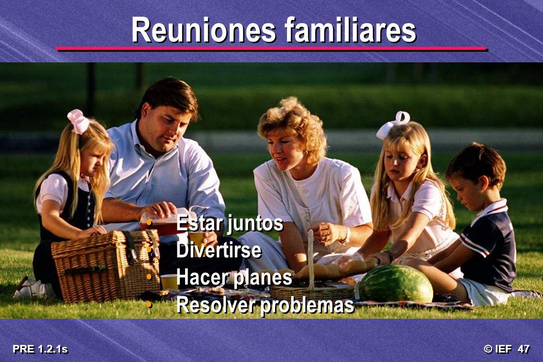 © IEF 47 PRE 1.2.1s Reuniones familiares Estar juntos Divertirse Hacer planes Resolver problemas