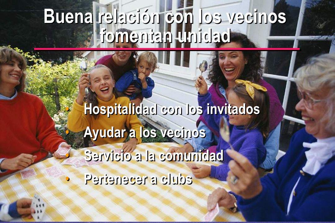 © IEF 53 PRE 1.2.1s Buena relación con los vecinos fomentan unidad Hospitalidad con los invitados Ayudar a los vecinos Servicio a la comunidad Pertene