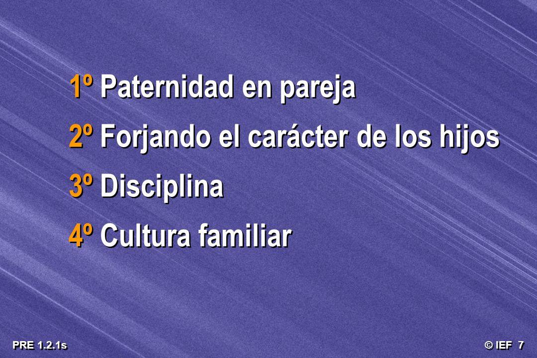 © IEF 7 PRE 1.2.1s 1º Paternidad en pareja 2º Forjando el carácter de los hijos 3º Disciplina 4º Cultura familiar 1º Paternidad en pareja 2º Forjando