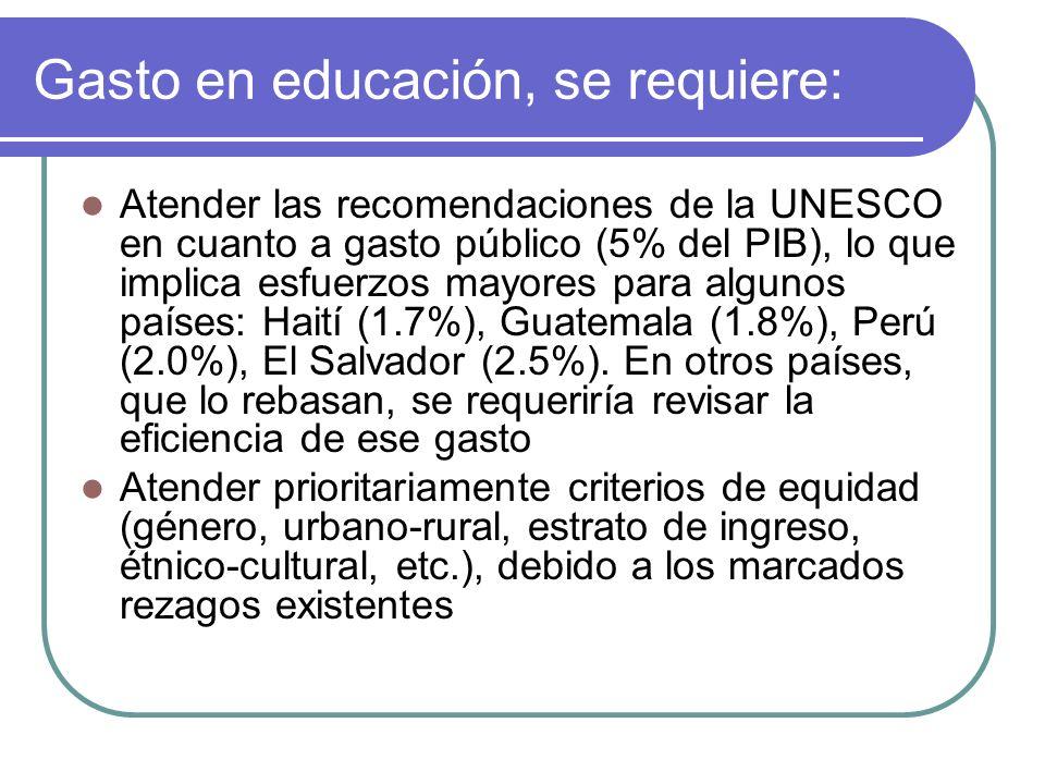 Hacer más eficiente el gasto Desarrollar mecanismos de elevación del rendimiento escolar y de la eficiencia del sistema educativo, atendiendo inequidades existentes.