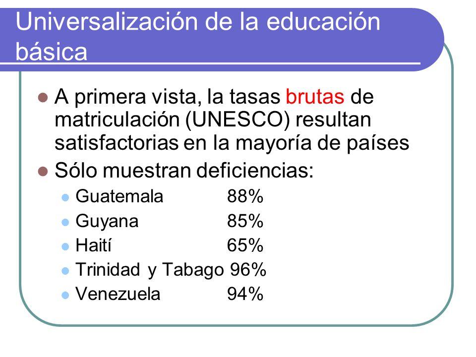 Tasas brutas de matriculación: debilidades como indicador A nivel mundial América Latina y el Caribe presenta las mayores tasas brutas: Total mundial101.8 (%) América del Norte101.1 Europa107.2 AL y el C113.6 Este indicador encierra discrepancias estadísticas (fuentes: ministerios y censos) y otras debilidades de los sistemas educativos, como una alta proporción de educandos fuera del grupo de edad, que denotan bajo rendimiento del sistema.