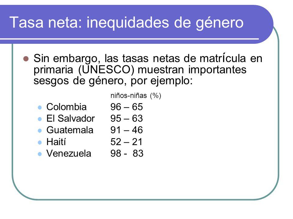 Inequidades urbano - rurales Según la tasa bruta de matrícula en primaria se observan grandes diferencias, por ejemplo: Bolivia117.5 – 62.9 (%) Ecuador109.9 – 76.7 Honduras122.8 – 85.2 Según la tasa de matriculación neta en primaria : Bolivia 75.2 – 39.1 (%) Ecuador 99.8 – 77.8 Honduras 105.2 – 76.5