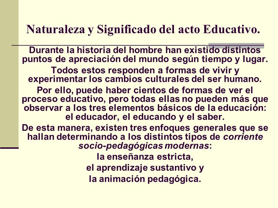 Naturaleza y Significado del acto Educativo.