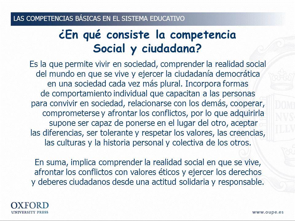 ¿En qué consiste la competencia Social y ciudadana.