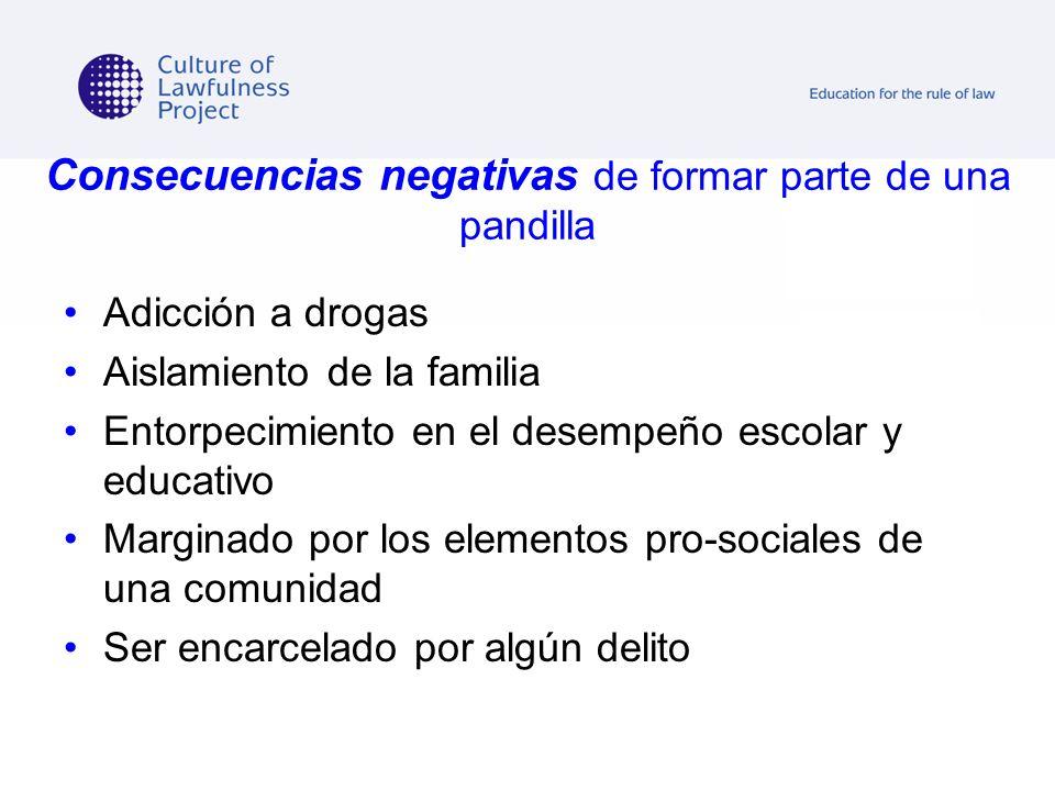 Consecuencias negativas de formar parte de una pandilla Adicción a drogas Aislamiento de la familia Entorpecimiento en el desempeño escolar y educativ