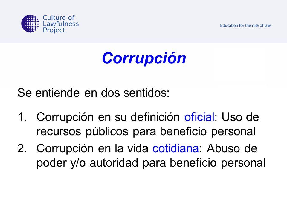 Corrupción Se entiende en dos sentidos: 1.Corrupción en su definición oficial: Uso de recursos públicos para beneficio personal 2.Corrupción en la vid