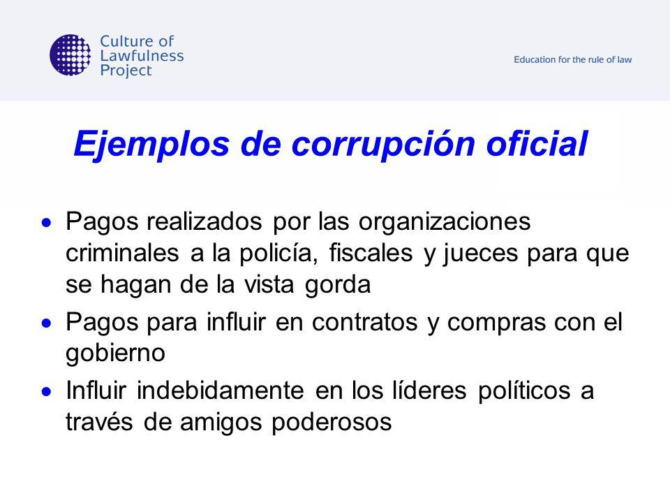 Ejemplos de corrupción oficial Pagos realizados por las organizaciones criminales a la policía, fiscales y jueces para que se hagan de la vista gorda