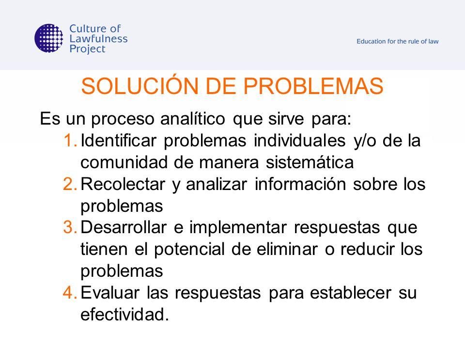 SOLUCIÓN DE PROBLEMAS Es un proceso analítico que sirve para: 1.Identificar problemas individuales y/o de la comunidad de manera sistemática 2.Recolec