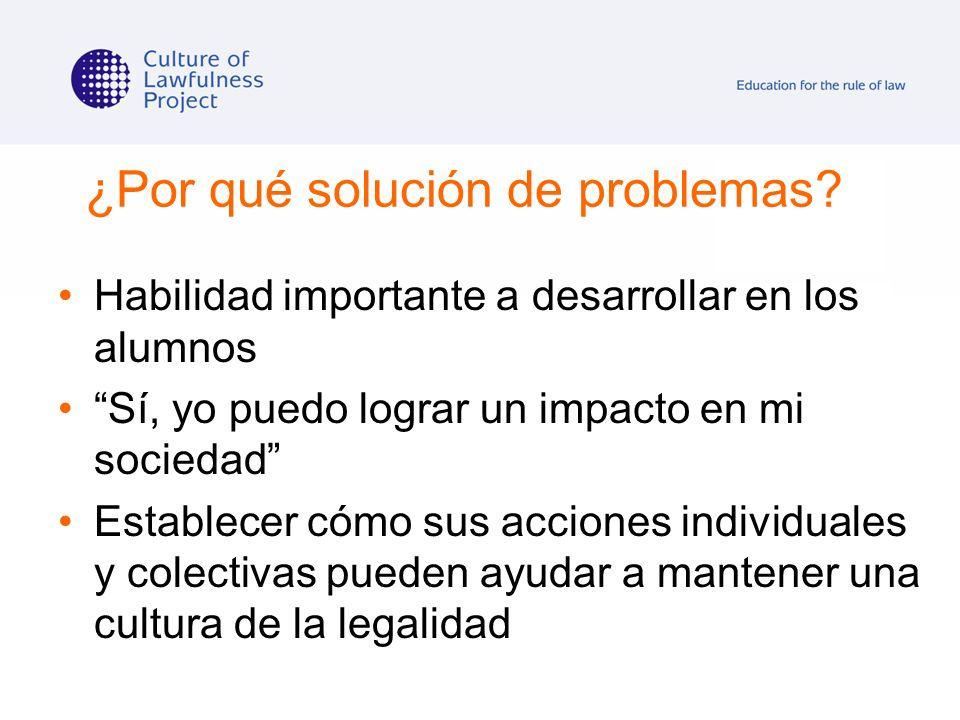 ¿Por qué solución de problemas? Habilidad importante a desarrollar en los alumnos Sí, yo puedo lograr un impacto en mi sociedad Establecer cómo sus ac