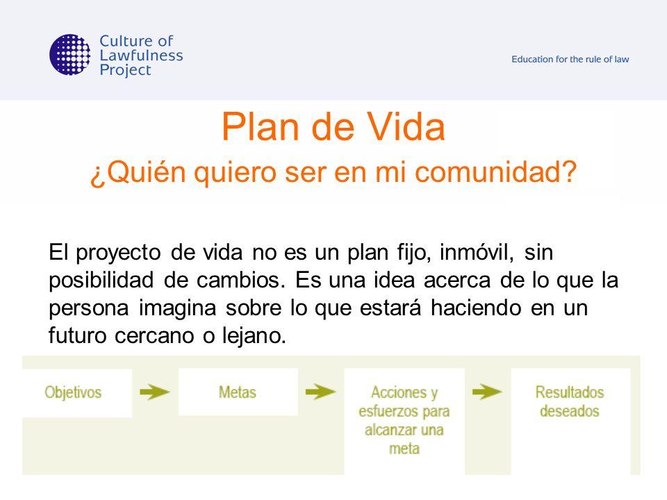Plan de Vida ¿Quién quiero ser en mi comunidad? El proyecto de vida no es un plan fijo, inmóvil, sin posibilidad de cambios. Es una idea acerca de lo