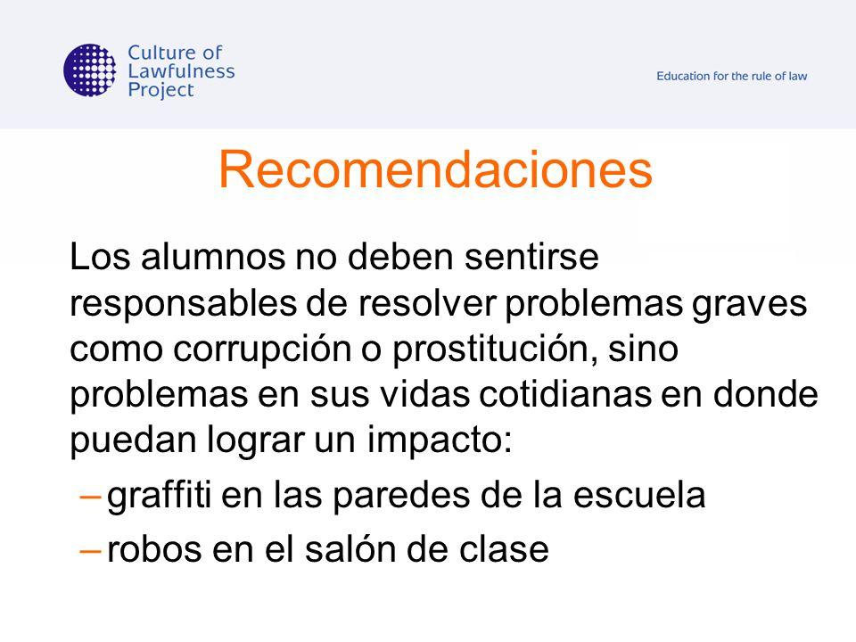 Recomendaciones Los alumnos no deben sentirse responsables de resolver problemas graves como corrupción o prostitución, sino problemas en sus vidas co