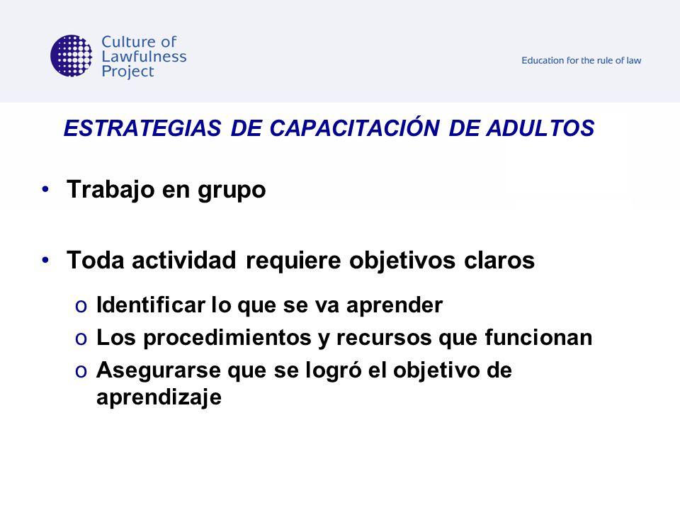 ESTRATEGIAS DE CAPACITACIÓN DE ADULTOS Trabajo en grupo Toda actividad requiere objetivos claros oIoIdentificar lo que se va aprender oLoLos procedimi