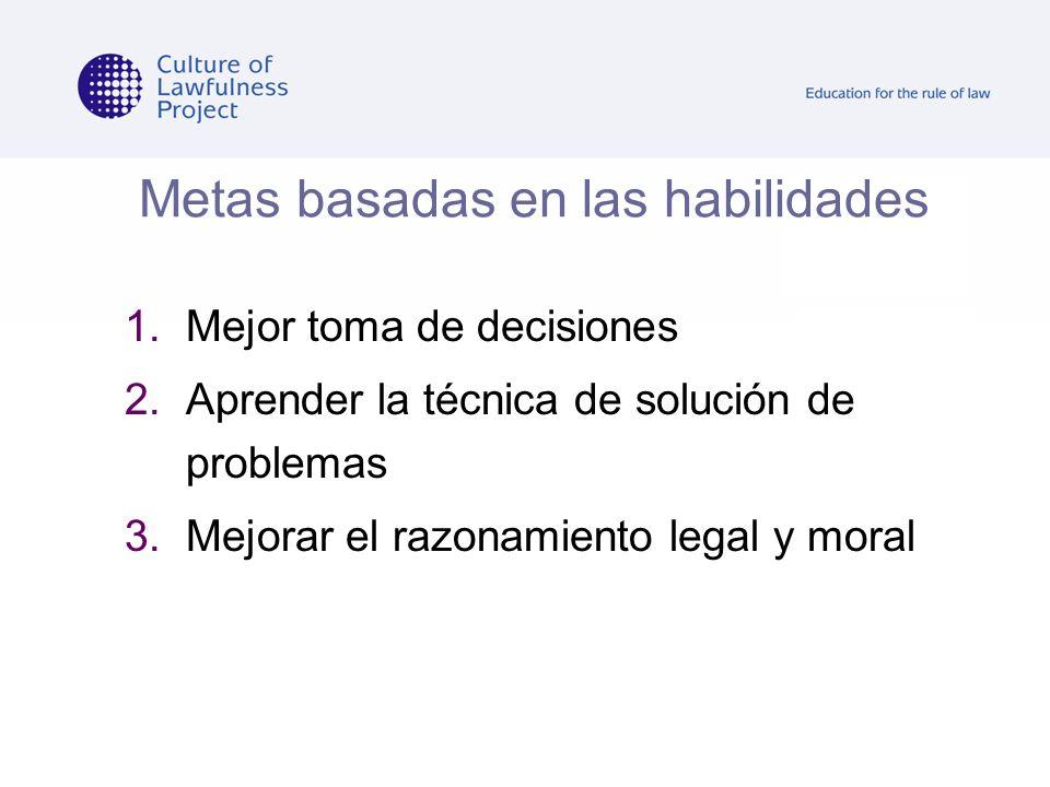 Metas basadas en las habilidades 1.Mejor toma de decisiones 2.Aprender la técnica de solución de problemas 3.Mejorar el razonamiento legal y moral