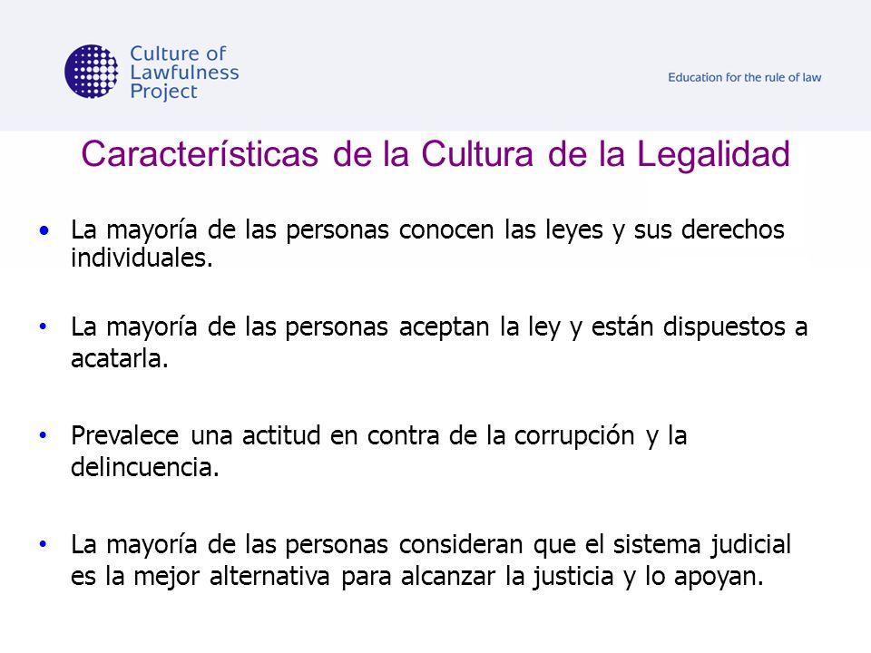 Características de la Cultura de la Legalidad La mayoría de las personas conocen las leyes y sus derechos individuales. La mayoría de las personas ace