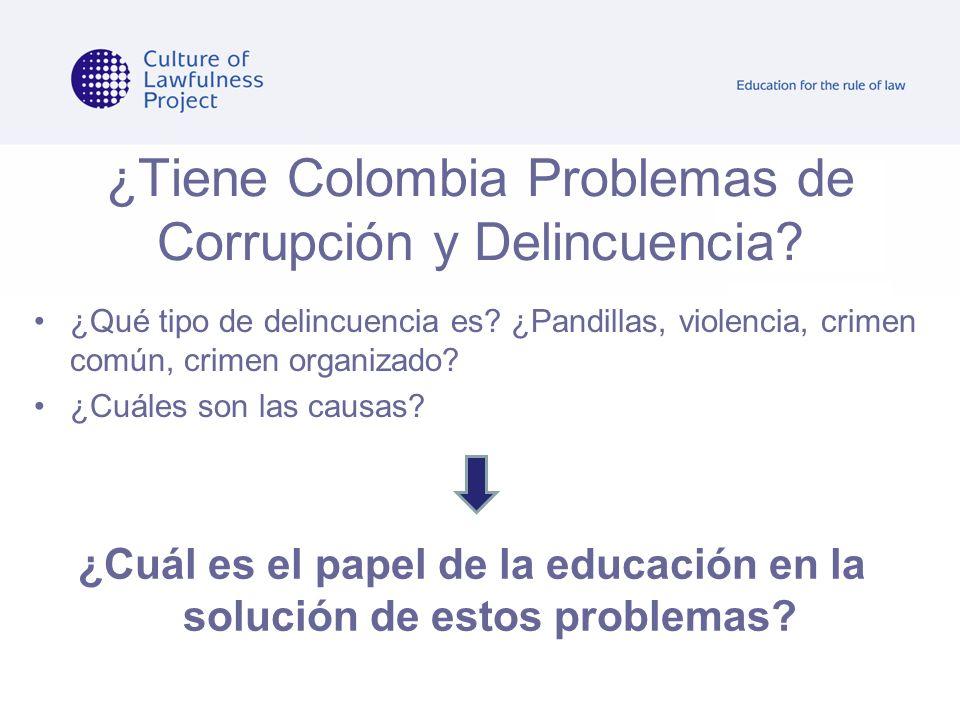 ¿Tiene Colombia Problemas de Corrupción y Delincuencia? ¿Qué tipo de delincuencia es? ¿Pandillas, violencia, crimen común, crimen organizado? ¿Cuáles