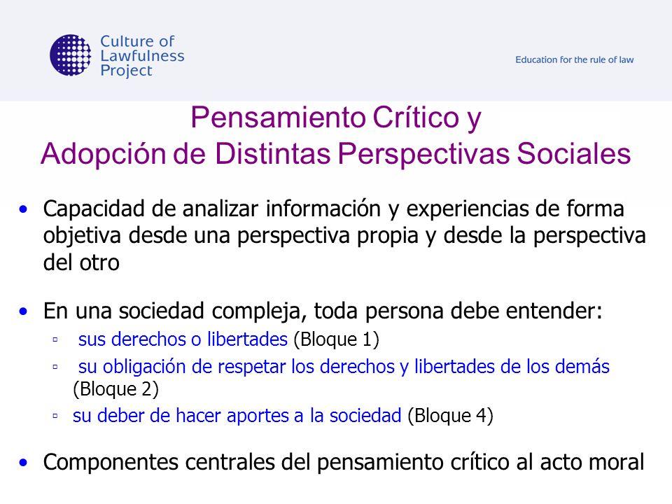 Pensamiento Crítico y Adopción de Distintas Perspectivas Sociales Capacidad de analizar información y experiencias de forma objetiva desde una perspec