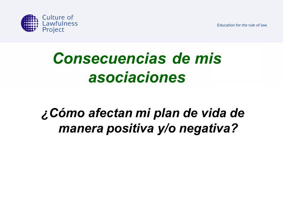 Consecuencias de mis asociaciones ¿Cómo afectan mi plan de vida de manera positiva y/o negativa?