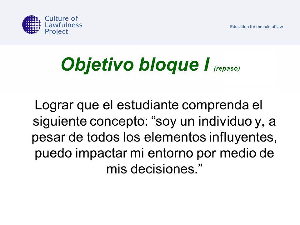 Objetivo bloque I (repaso) Lograr que el estudiante comprenda el siguiente concepto: soy un individuo y, a pesar de todos los elementos influyentes, p