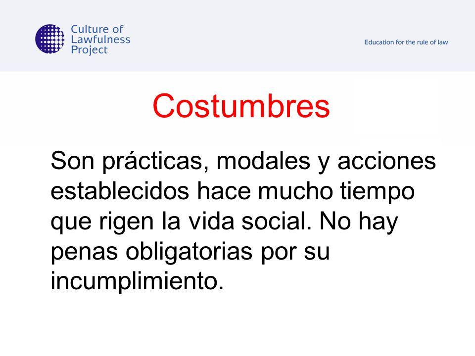 Costumbres Son prácticas, modales y acciones establecidos hace mucho tiempo que rigen la vida social. No hay penas obligatorias por su incumplimiento.
