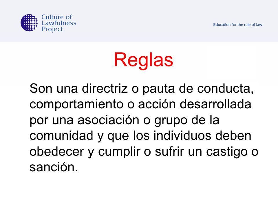 Reglas Son una directriz o pauta de conducta, comportamiento o acción desarrollada por una asociación o grupo de la comunidad y que los individuos deb