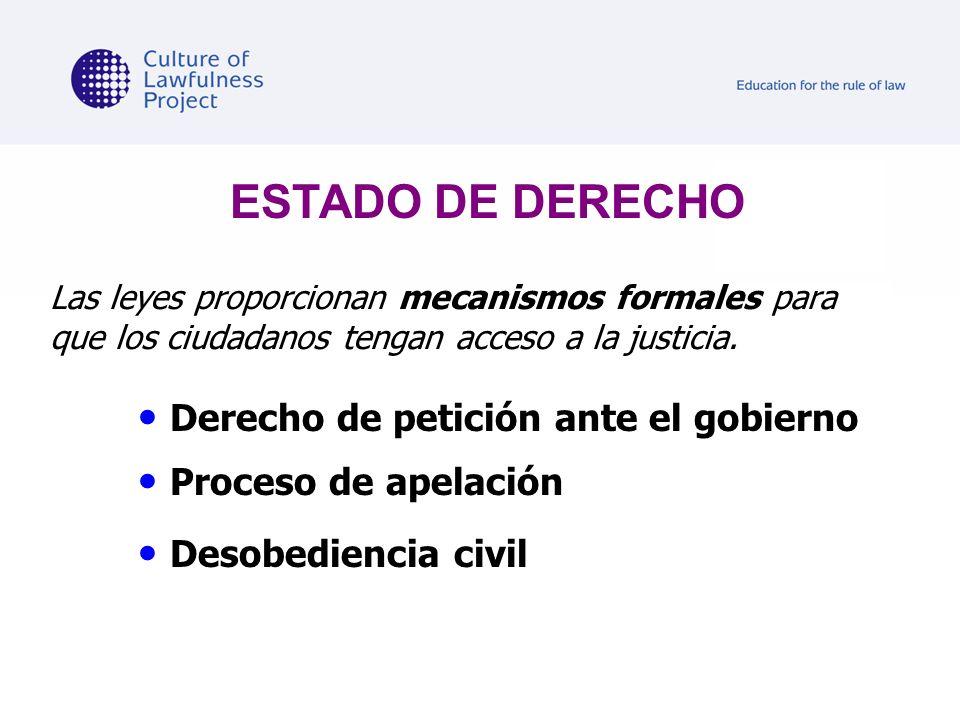 Las leyes proporcionan mecanismos formales para que los ciudadanos tengan acceso a la justicia. Derecho de petición ante el gobierno Proceso de apelac