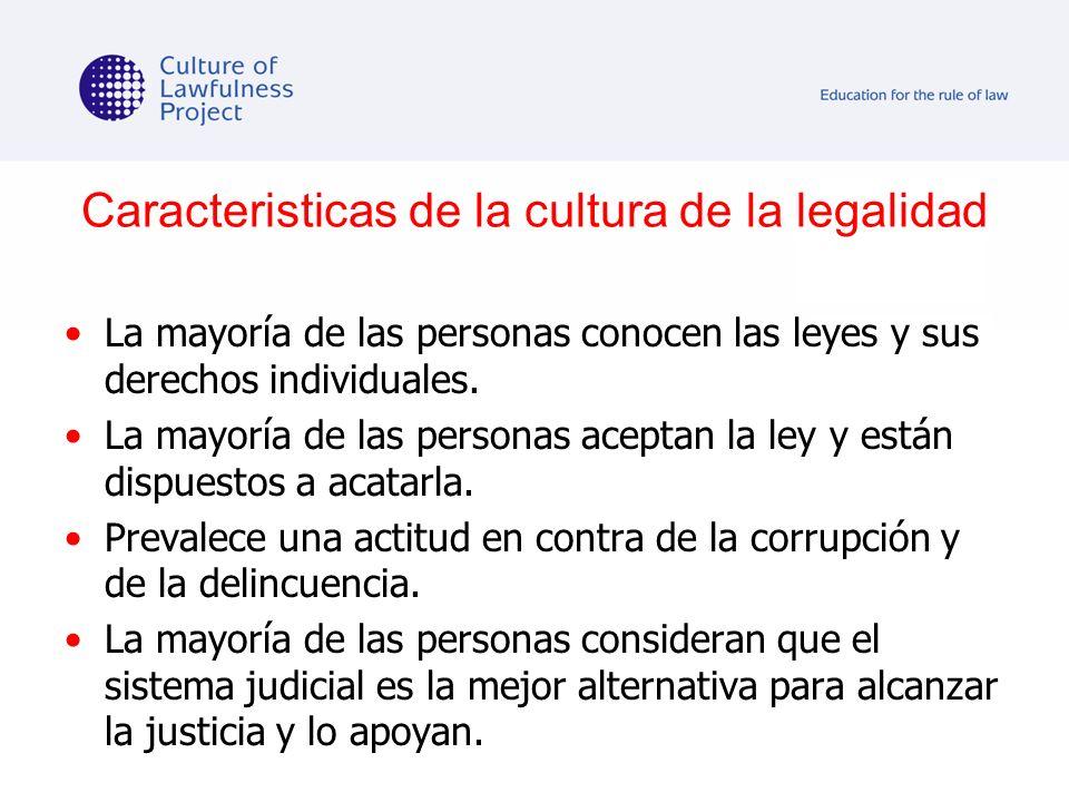 Caracteristicas de la cultura de la legalidad La mayoría de las personas conocen las leyes y sus derechos individuales. La mayoría de las personas ace