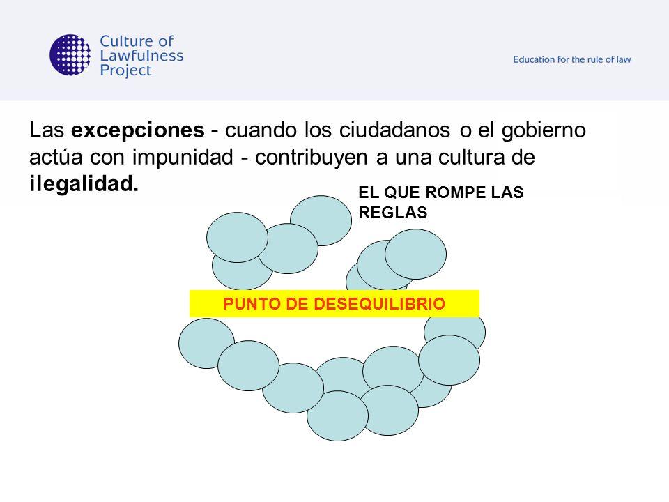 Las excepciones - cuando los ciudadanos o el gobierno actúa con impunidad - contribuyen a una cultura de ilegalidad. EL QUE ROMPE LAS REGLAS PUNTO DE