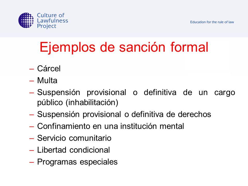 Ejemplos de sanción formal –Cárcel –Multa –Suspensión provisional o definitiva de un cargo público (inhabilitación) –Suspensión provisional o definiti