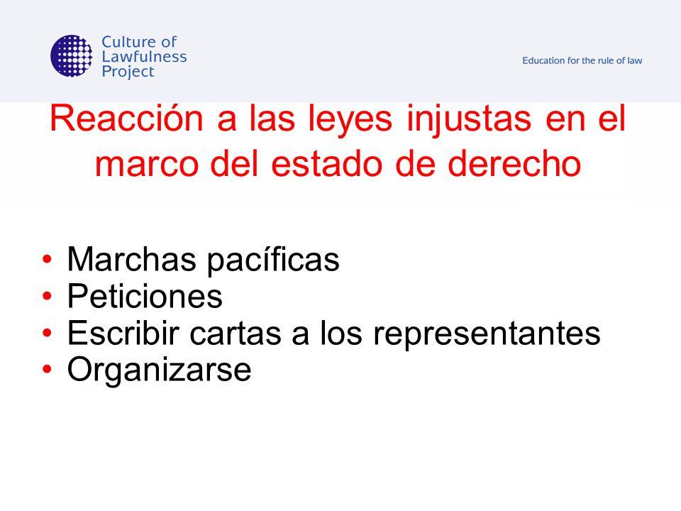 Reacción a las leyes injustas en el marco del estado de derecho Marchas pacíficas Peticiones Escribir cartas a los representantes Organizarse