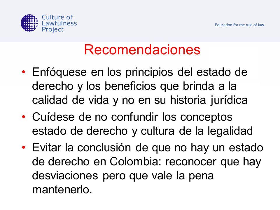 Recomendaciones Enfóquese en los principios del estado de derecho y los beneficios que brinda a la calidad de vida y no en su historia jurídica Cuídes