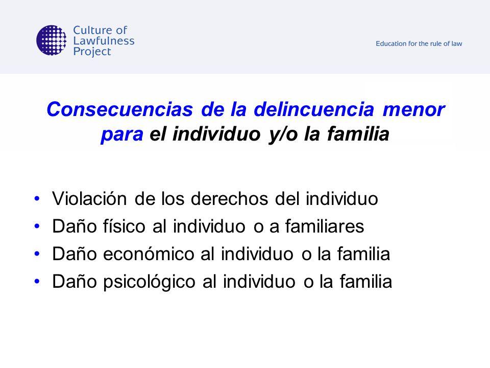 Consecuencias de la delincuencia menor para el individuo y/o la familia Violación de los derechos del individuo Daño físico al individuo o a familiare