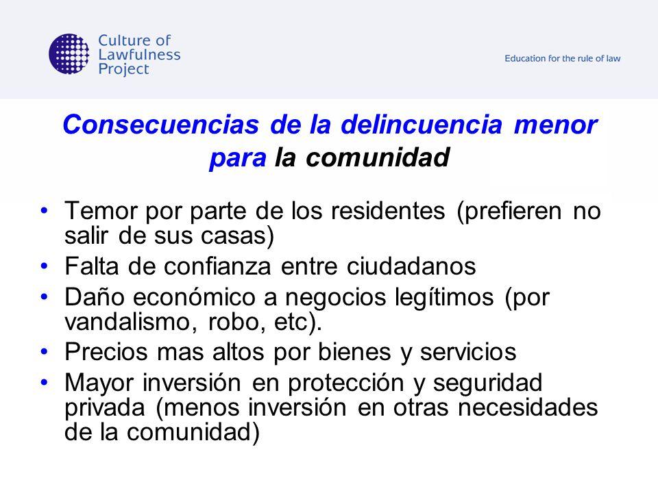 Consecuencias de la delincuencia menor para la comunidad Temor por parte de los residentes (prefieren no salir de sus casas) Falta de confianza entre
