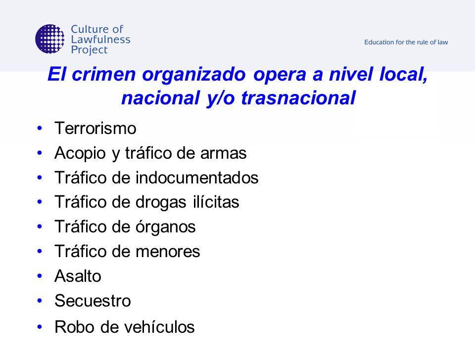 El crimen organizado opera a nivel local, nacional y/o trasnacional Terrorismo Acopio y tráfico de armas Tráfico de indocumentados Tráfico de drogas i