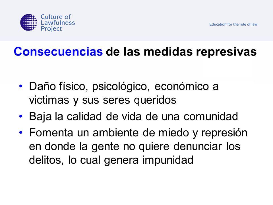 Consecuencias de las medidas represivas Daño físico, psicológico, económico a victimas y sus seres queridos Baja la calidad de vida de una comunidad F