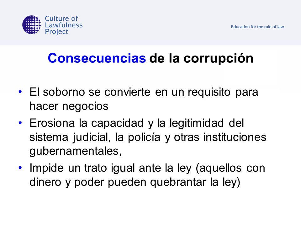 Consecuencias de la corrupción El soborno se convierte en un requisito para hacer negocios Erosiona la capacidad y la legitimidad del sistema judicial