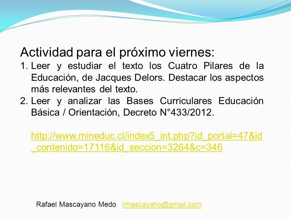 Rafael Mascayano Medo rmascayano@gmail.comrmascayano@gmail.com Actividad para el próximo viernes: 1.Leer y estudiar el texto los Cuatro Pilares de la