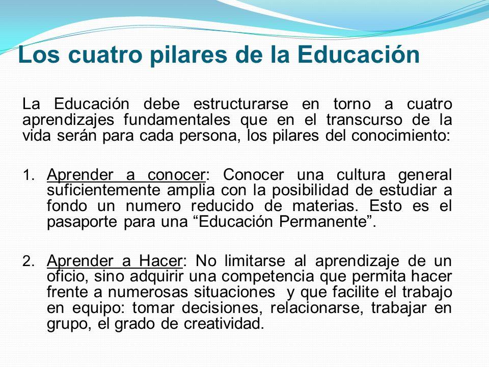 Los cuatro pilares de la Educación La Educación debe estructurarse en torno a cuatro aprendizajes fundamentales que en el transcurso de la vida serán para cada persona, los pilares del conocimiento: 1.