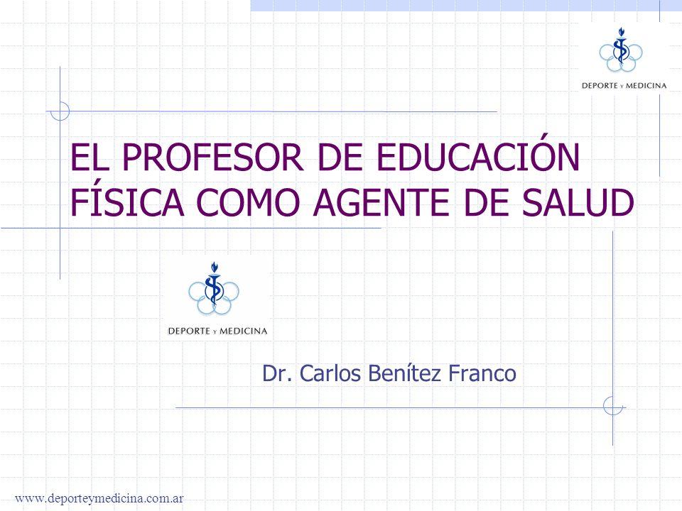 www.deporteymedicina.com.ar LA SALUD LA EDUCACIÓN EL PROFESOR DE EDUCACIÓN FISICA COMO AGENTE DE SALUD OBJETIVOS DE LAS CIENCIAS DEL MOVIMIENTO FÍSICA PSÍQUICA SOCIAL EDUCACIÓNSALUD INTELECTUAL VOLITIVA MORAL SOCIAL NIVELES DE PREVENCIÓN