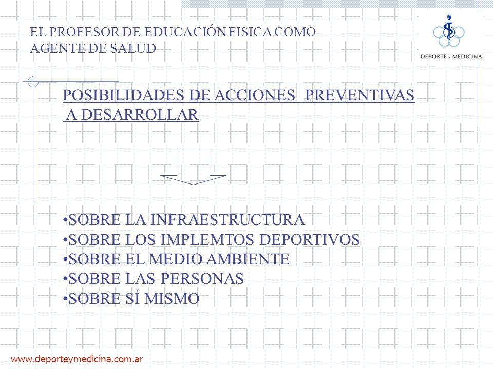 www.deporteymedicina.com.ar EL PROFESOR DE EDUCACIÓN FISICA COMO AGENTE DE SALUD POSIBILIDADES DE ACCIONES PREVENTIVAS A DESARROLLAR SOBRE LA INFRAEST