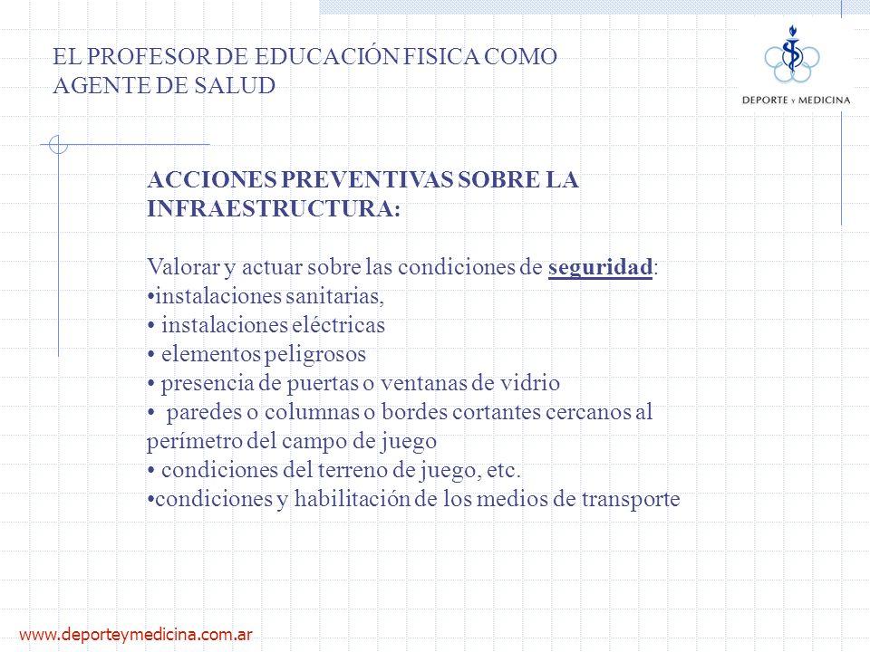 www.deporteymedicina.com.ar EL PROFESOR DE EDUCACIÓN FISICA COMO AGENTE DE SALUD ACCIONES PREVENTIVAS SOBRE LA INFRAESTRUCTURA: Valorar y actuar sobre
