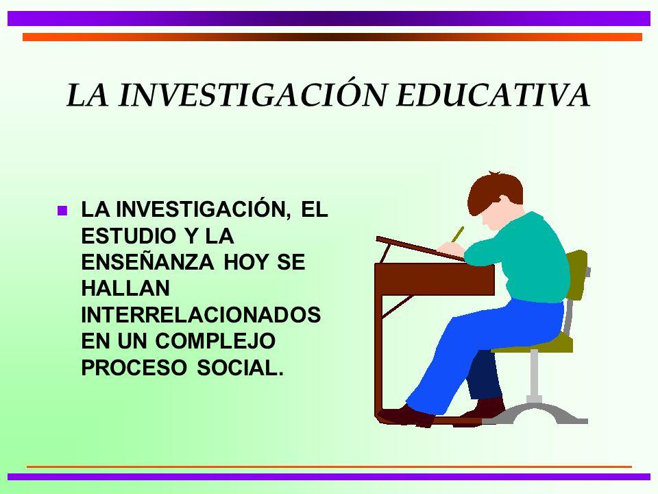 LA INVESTIGACIÓN EDUCATIVA n LA INVESTIGACIÓN, EL ESTUDIO Y LA ENSEÑANZA HOY SE HALLAN INTERRELACIONADOS EN UN COMPLEJO PROCESO SOCIAL.