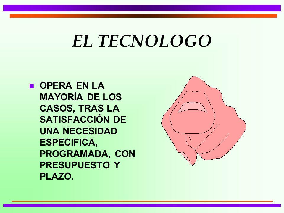 EL TECNOLOGO n OPERA EN LA MAYORÍA DE LOS CASOS, TRAS LA SATISFACCIÓN DE UNA NECESIDAD ESPECIFICA, PROGRAMADA, CON PRESUPUESTO Y PLAZO.