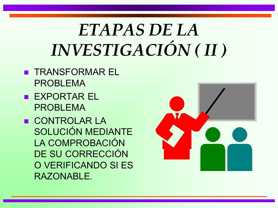 ETAPAS DE LA INVESTIGACIÓN ( II ) n TRANSFORMAR EL PROBLEMA n EXPORTAR EL PROBLEMA n CONTROLAR LA SOLUCIÓN MEDIANTE LA COMPROBACIÓN DE SU CORRECCIÓN O VERIFICANDO SI ES RAZONABLE.